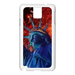 Statue Of Liberty Fireworks At Night United States Of America Samsung Galaxy Note 3 N9005 Case (white)