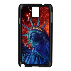 Statue Of Liberty Fireworks At Night United States Of America Samsung Galaxy Note 3 N9005 Case (black)