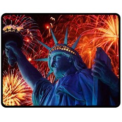 Statue Of Liberty Fireworks At Night United States Of America Double Sided Fleece Blanket (medium)