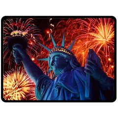 Statue Of Liberty Fireworks At Night United States Of America Double Sided Fleece Blanket (large)