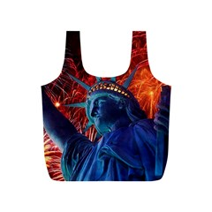 Statue Of Liberty Fireworks At Night United States Of America Full Print Recycle Bags (s)