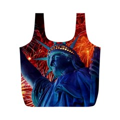 Statue Of Liberty Fireworks At Night United States Of America Full Print Recycle Bags (m)