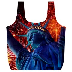 Statue Of Liberty Fireworks At Night United States Of America Full Print Recycle Bags (l)