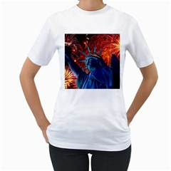 Statue Of Liberty Fireworks At Night United States Of America Women s T Shirt (white)