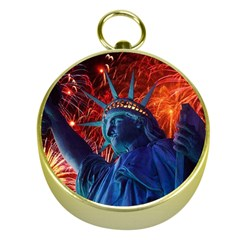 Statue Of Liberty Fireworks At Night United States Of America Gold Compasses