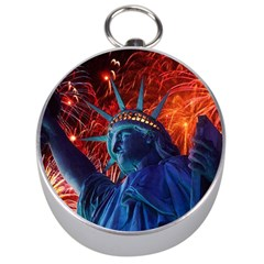 Statue Of Liberty Fireworks At Night United States Of America Silver Compasses