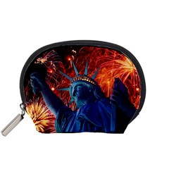 Statue Of Liberty Fireworks At Night United States Of America Accessory Pouches (small)