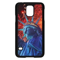 Statue Of Liberty Fireworks At Night United States Of America Samsung Galaxy S5 Case (black)