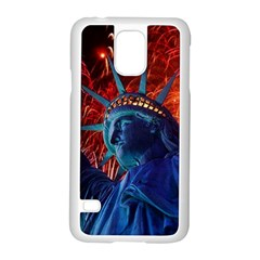 Statue Of Liberty Fireworks At Night United States Of America Samsung Galaxy S5 Case (white)