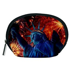 Statue Of Liberty Fireworks At Night United States Of America Accessory Pouches (medium)