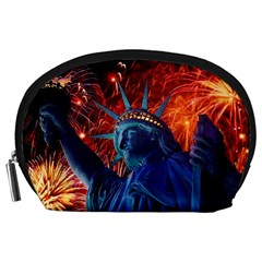Statue Of Liberty Fireworks At Night United States Of America Accessory Pouches (large)