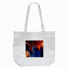 Statue Of Liberty Fireworks At Night United States Of America Tote Bag (white)