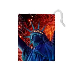 Statue Of Liberty Fireworks At Night United States Of America Drawstring Pouches (medium)
