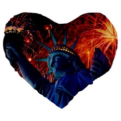 Statue Of Liberty Fireworks At Night United States Of America Large 19  Premium Flano Heart Shape Cushions