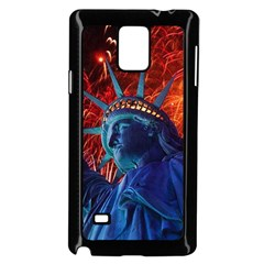 Statue Of Liberty Fireworks At Night United States Of America Samsung Galaxy Note 4 Case (black)