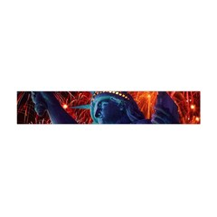 Statue Of Liberty Fireworks At Night United States Of America Flano Scarf (mini)