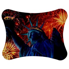 Statue Of Liberty Fireworks At Night United States Of America Jigsaw Puzzle Photo Stand (Bow)