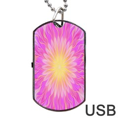 Round Bright Pink Flower Floral Dog Tag Usb Flash (two Sides)