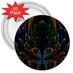 Rose Flower Floral Gold 3  Buttons (10 Pack)