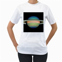 True Color Variety Of The Planet Saturn Women s T Shirt (white) (two Sided)