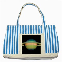 True Color Variety Of The Planet Saturn Striped Blue Tote Bag
