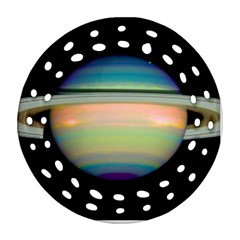 True Color Variety Of The Planet Saturn Round Filigree Ornament (two Sides)