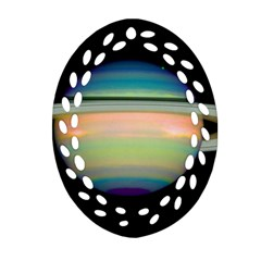 True Color Variety Of The Planet Saturn Ornament (oval Filigree)