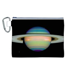 True Color Variety Of The Planet Saturn Canvas Cosmetic Bag (l)