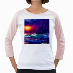 Sunset Orange Sky Dark Cloud Sea Waves Of The Sea, Rocky Mountains Art Girly Raglans