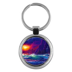 Sunset Orange Sky Dark Cloud Sea Waves Of The Sea, Rocky Mountains Art Key Chains (round)