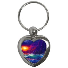 Sunset Orange Sky Dark Cloud Sea Waves Of The Sea, Rocky Mountains Art Key Chains (heart)