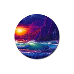 Sunset Orange Sky Dark Cloud Sea Waves Of The Sea, Rocky Mountains Art Magnet 3  (round)