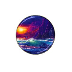 Sunset Orange Sky Dark Cloud Sea Waves Of The Sea, Rocky Mountains Art Hat Clip Ball Marker