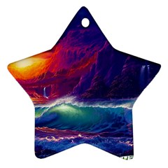 Sunset Orange Sky Dark Cloud Sea Waves Of The Sea, Rocky Mountains Art Star Ornament (two Sides)
