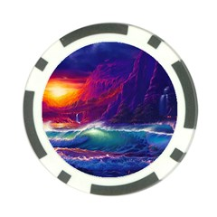 Sunset Orange Sky Dark Cloud Sea Waves Of The Sea, Rocky Mountains Art Poker Chip Card Guard