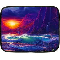 Sunset Orange Sky Dark Cloud Sea Waves Of The Sea, Rocky Mountains Art Fleece Blanket (mini)