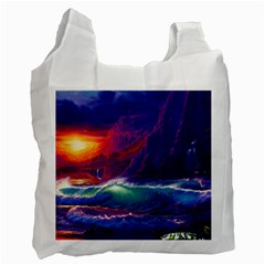 Sunset Orange Sky Dark Cloud Sea Waves Of The Sea, Rocky Mountains Art Recycle Bag (two Side)