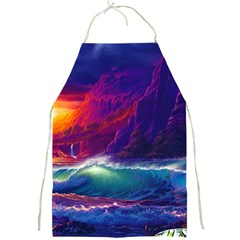 Sunset Orange Sky Dark Cloud Sea Waves Of The Sea, Rocky Mountains Art Full Print Aprons