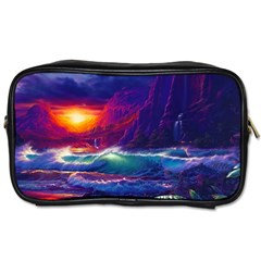 Sunset Orange Sky Dark Cloud Sea Waves Of The Sea, Rocky Mountains Art Toiletries Bags 2 Side