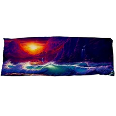 Sunset Orange Sky Dark Cloud Sea Waves Of The Sea, Rocky Mountains Art Body Pillow Case Dakimakura (two Sides)