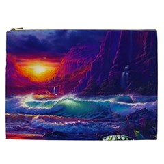 Sunset Orange Sky Dark Cloud Sea Waves Of The Sea, Rocky Mountains Art Cosmetic Bag (xxl)