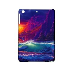 Sunset Orange Sky Dark Cloud Sea Waves Of The Sea, Rocky Mountains Art Ipad Mini 2 Hardshell Cases
