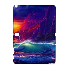 Sunset Orange Sky Dark Cloud Sea Waves Of The Sea, Rocky Mountains Art Galaxy Note 1