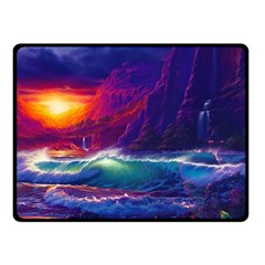 Sunset Orange Sky Dark Cloud Sea Waves Of The Sea, Rocky Mountains Art Double Sided Fleece Blanket (small)