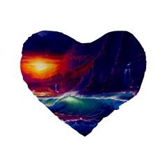 Sunset Orange Sky Dark Cloud Sea Waves Of The Sea, Rocky Mountains Art Standard 16  Premium Flano Heart Shape Cushions