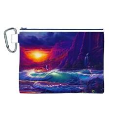 Sunset Orange Sky Dark Cloud Sea Waves Of The Sea, Rocky Mountains Art Canvas Cosmetic Bag (l)