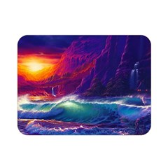 Sunset Orange Sky Dark Cloud Sea Waves Of The Sea, Rocky Mountains Art Double Sided Flano Blanket (mini)