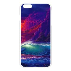 Sunset Orange Sky Dark Cloud Sea Waves Of The Sea, Rocky Mountains Art Apple Seamless iPhone 6 Plus/6S Plus Case (Transparent)