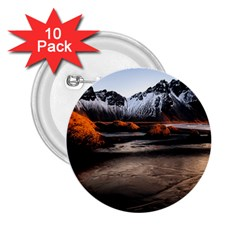 Vestrahorn Iceland Winter Sunrise Landscape Sea Coast Sandy Beach Sea Mountain Peaks With Snow Blue 2 25  Buttons (10 Pack)