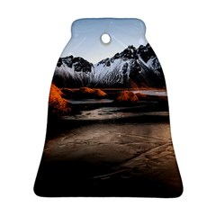 Vestrahorn Iceland Winter Sunrise Landscape Sea Coast Sandy Beach Sea Mountain Peaks With Snow Blue Bell Ornament (two Sides)